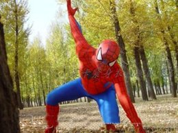 Wholesale Adult Spider Man Costumes - 2017 hot new Spiderman Costume Red Black Spider Man Suit Spider-man Costumes Adults Children Kids Spider-Man Mascot Clothing