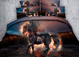 3d duvets pferde königin größe Rabatt 3D Horse Bettwäsche-Set Quilt Bettbezug-Sets Bett in einer Tasche Bettlaken Bettwäsche Cal Super King Queen-Size-volle Twin Doppeltier 4PCS