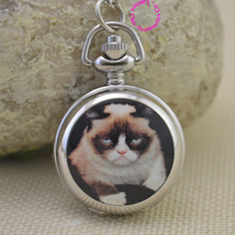 Wholesale Funny Pictures Cartoon - silver funny cute cartoon picture Grumpy Cat fob pocket watch necklace women fun girl lady child new fashion antibrittle gift