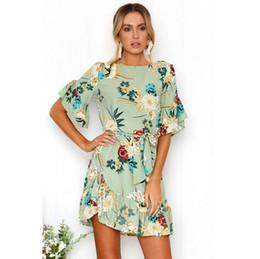 da3e2b72b60 Girls Boho Floral Crew Neck Dress Print Summer Women Short Evening Party  Cocktail Casual Beach Lotus Leaf Dress Sundress