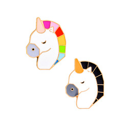 Wholesale Colorful Mens Suits - Cute Colorful Unicorn Enamel Brooches Pins Small Size Lapel Pins For Women Mens Suit Shirt Backpack Hat Denim Button Badge Safe Gift 2018