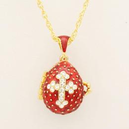 Pendentif oeuf en émail en Ligne-Convient pour le luxe européen Faberge oeuf pendentif cristal rouge croix pendentif collier émail Europe oeufs de Pâques, cadeaux de Noël