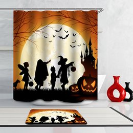 2017 Waterproof Cartoon Shower Curtain Halloween Ghost Castle Style Bathroom Set 12pcs Hooks Polyester Rideau De Douche