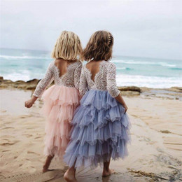 0-5Y Pastel de encaje tutu exuberantes niñas niños boda vestido de niña de flores fiesta de la princesa vestido del desfile de manga larga vestido de tul desde fabricantes