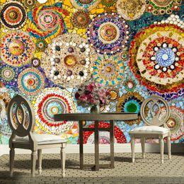 2019 murais de azulejos Personalizado 3D Murais de Parede Papel De Parede Telha De Mosaico Arte Abstrata Pintura de Parede Sala de estar TV Papel De Parede Papel De Parede Papier Peint Mural 3D desconto murais de azulejos