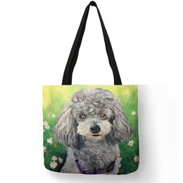 used clothes bags Coupons - Poodle Dog Art Portrait Printing Shoulder Bag Eco Friendly Linen Reusable Handbag Practical Daily Office Use Convenient Totes