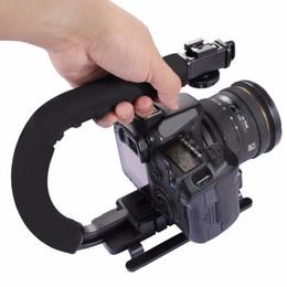 suportes em forma de c Desconto PULUZ em forma de C Vídeo Handle DV Steadicam Estabilizador de Suporte para Todas as Câmeras SLR e Câmera DV Doméstica