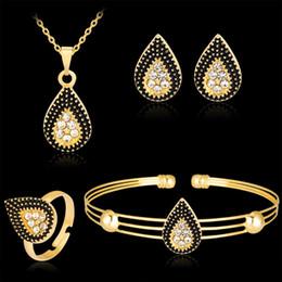 Wholesale black jade gold bracelet - Water Drop Jewelry Sets Women Vintage gold Color Black drip drop Necklaces Earrings rings Bracelets Bijoux Bridal Gifts