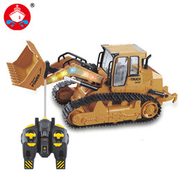 Wholesale Plastic Caterpillars - 2017 New Rc Truck 6ch Bulldozer Caterpillar Track Remote Control Simulation Engineering Truck Christmas Gift Construction Model