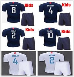 Wholesale Children Size Jerseys - 2018 2019 Kids Youth Boy United soccer Sets away Jerseys DEMPSEY US SIZE DONOVAN BRADLEY PULISIC ALTIDORE Morgan WOOD Howard Child States