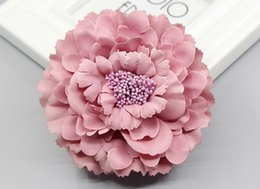 wedding hair corsage Promo Codes - 2016 trendy Fabric Blooming peony Flower Corsage Brooch woman Hair Decorations & Brooch wedding party Hair Clip Bridal Wedding