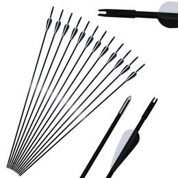 Arco de fibra de vidro recurvo on-line-Archery Spine 750 6mm 31 '' Fibras De Vidro Arrows Nocks Ponto Fixo Dica Tiro Caça Alvo para Recurvo Arco Composto Prática