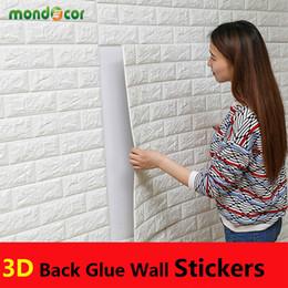 papel fotográfico em fibra Desconto ECO amigável Auto aderiu papel de parede XPE 3D Adesivos de Parede cor pura decoração para quarto crianças sala de estar
