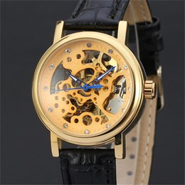 скелетные женские часы Скидка WINNER Women Watch Automatic Mechanical Lady Watches Top Brand Luxury Classic Fashion Leather Band Skeleton Female Clock New 155