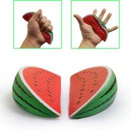 Wholesale Resin Ornaments - Small watermelon squishy 14 cm simulation fruit foam bread cake resin decorative ornaments squishies decompression toys