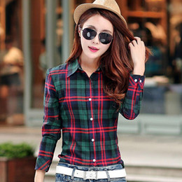 Wholesale White Chiffon Shirts Blouses - plus size M-5XL Spring New Fashion Casual Lapel Plus Size Blouses women plaid shirt Checks Flannel Shirts Female Long Sleeve Tops Blouse