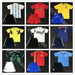 Wholesale Wholesale Red Cups - DHL free shipping Argentina messi Belgium Brazil Colombia Japan Mexico Spain Sweden Uruguay Full kit Soccer Sets 2018 World Cup Jersey