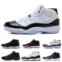 2019 chaussures magnifiques Top 11 Noir Blanc Space Jam Hommes Chaussures De Basket-ball Superbe Gym Rouge Chicago Midnight Navy XI Sports Sneakers Taille 36-47 chaussures magnifiques pas cher