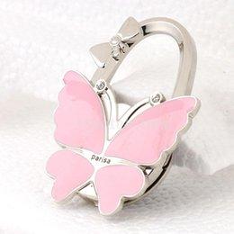 Wholesale Hanger Pink - Butterfly Rhinestone Folding Handbag Tote Purse Hanger Desl Hook Holder Pink