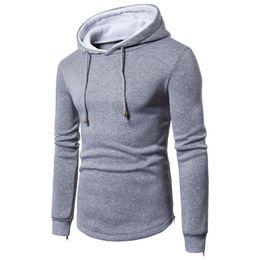 Wholesale Hat Tee - sportswear Winter Men's Long Sleeve Solid Hoodie Hooded Sweatshirt Top Tee Outwear Bomber 2017 sweat homme #AA