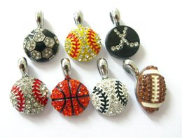 Wholesale Hanging Charms Bracelets - 10pcs Mix Styles Base Basket Football Softball With Rhinestone Hang Pendant Charms 15x15mm Fit DIY Bracelet Necklace  Key Chain Phone Strip