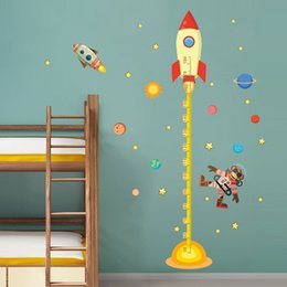Wholesale Planets Decals - wholesale  Outer space Planet Monkey Pilot Rocket home decal height measure wall sticker for kids room baby nursery growth chart gifts