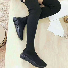 Wholesale High Heels Dropshipping - 2018 new Black Sock Booties Sports Running Shoes,Training Sneakers Boots,Speed Knit Sock High-Top Training Sneakers,Dropshipping Accepted