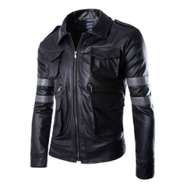 motorcycles games Promo Codes - Wholesale- Hot Game Resident Evil 6 Leon Jacket Gentlemen Cavalier Men PU Leather Jacket Motorcycle Outerwear Man Jacket Man Coat