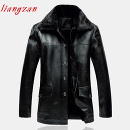 Wholesale Menswear Jacket - Men PU Leather Coat Winter Snow Warm Fleece Casual Motorcycle Jacket Coats Brand Plus Size XL-5XL Menswear Trench Coat SL-K415
