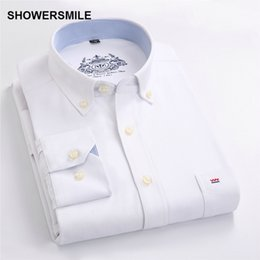 a6dbeb57a44 SHOWERSMILE Clothing Formal Male Button Down Shirts Autumn Men Shirt Long  Sleeves Korean Fashion Slim Fit Mens Dress Shirt White