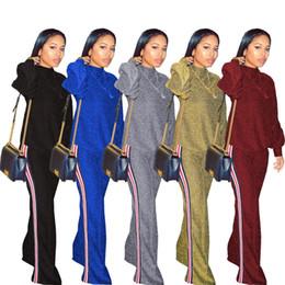 Wholesale Silver Shiny Suit - Bling Shiny Suits Leisure Set Side Stripe Tracksuits Women Long Sleeve Sweatshirts Wide Leg Stripe Pants Trousers Outfits 5 Colors OOA4927