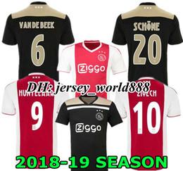7965845a49001 Top qualité thaïlandaise Ajax Home maillots de football 18 19 AJAX DOLBERG Soccer  maillot 2018 loin ZIYECH HUNTELAAR NOURI noir / Raw Gold Football Shirt