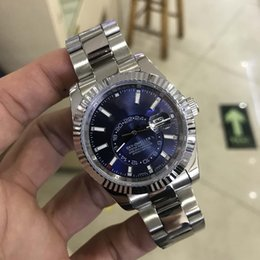 Wholesale Men Watch Sapphire - Luxury Mens Watches Self-Winding Mechanical Movement SKY 326934 Blue Dial Sapphire Glass Concealed Folding Crown Clasp Men Watches 41MM