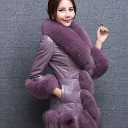 2020 casacos acolchoados para mulheres longas Tamanho grande casaco de pele de imitação 2018 inverno versão coreana da longa seção de gola de pele de raposa para baixo de algodão acolchoado casaco quente desconto casacos acolchoados para mulheres longas
