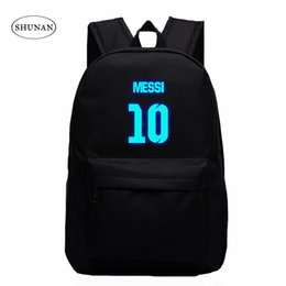 best color backpack Promo Codes - VN Brand Messi Bag 10# Night Luminous Backpacks Messi Fan Bag Star Backpack School For Teenagers Best Birthday Gift For Kids