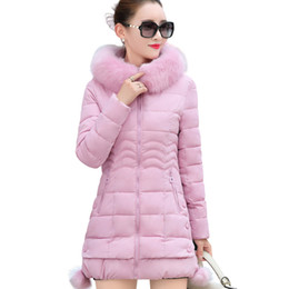 Wholesale Cheap Hooded Parka Coats - 2017 New Winter Women Coat Jacket Medium Length Warm High Quality Woman Down Parka Winter padded jacket cheap coats