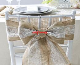 fajas de sillas de arpillera Rebajas 100 unids 15 * 240 cm Naturalmente Elegante Silla de Encaje de Arpillera Fajas Yute Silla Tie Bow Para Rustic Wedding Party Event Decoration F051403