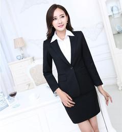 Novedad Trajes de trabajo profesionales formales negros con tops y falda  Blazers de negocios Trajes de falda para mujer Otoño Invierno Tallas  grandes trajes ... 77f3fc12821e