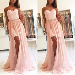 vestido de saia destacável chiffon frisado Desconto Chique blush rosa laço curto dividir vestidos de baile com saia destacável chiffon elegante frisado querido longo formal vestidos de festa à noite