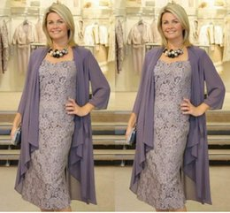 Wholesale dresses for weddings jacket - Mother of The Bride Dresses Two Pieces Chiffon Jackets Sheath Lace Mothers Dresses For Wedding Events Prom Evening Dresses