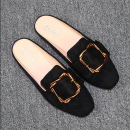 квадратные носки Скидка Лето осень площадь Toe плоский женщина тапочки скольжения на половину обувь мокасины Baotou шлепанцы плюс размер 31-44