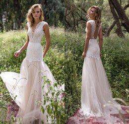 Wholesale Empire Lace - Limor Rosen 2018 Bodice Country Wedding Dresses Illusion Jewel Cap Sleeve Appliques Court Train Vintage Garden Beach Boho Bridal Gowns