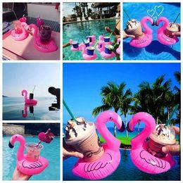 2020 portavasos barcos Flamenco inflable Sostenedor de la Copa Swim Drink Flotadores Sostenedor de la Copa Verano Piscina Baño Playa Bebida Barco Titular de la bebida AAA341 portavasos barcos baratos