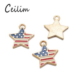 Wholesale Cheap Usa Flags - 2018 New fashion pentagram America flag & USA letter charms for jewelry making retro accessories cheap items DIY fashion jewelry wholesale