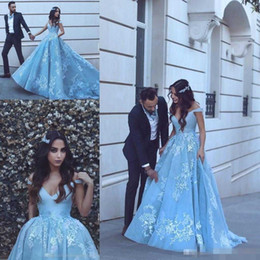 Wholesale empire ice - 2018 Ice Blue Said Mhamad Off Shoulder Long Prom Dresses Sexy V Neck pocket design puffy skirt Lace Applique Formal Evening Wear Party