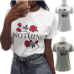 Wholesale flower girl tee - NOTHING Letter Print T-shirts Girls Women Rose Flower Casual Summer Tops Blouses Short Sleeve O-neck Tee Shirt LJJO4306