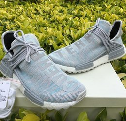 Wholesale Hard Sun - Trail NMD Pharrell Human Race Shoes Mens drop 2018 are colorways Cotton Candy BBC,Nerd,Pale Nude,Sun Glow,Noble Ink,Hotsale nmd