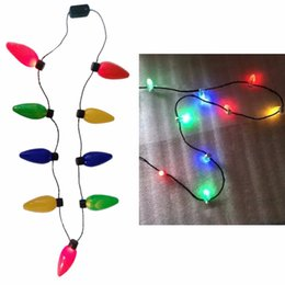 Wholesale lighted xmas necklaces - LED Light Up Christmas Bulb Necklace Flashing Xmas Parties Favors Birthday Gifts
