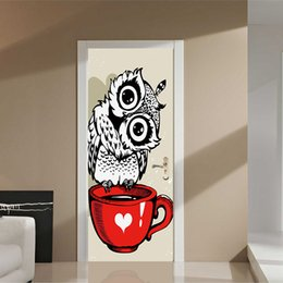 Wholesale wallpaper cartoon owl - New Lovely Owl Standing On Red Cup Door Stickers Kids Children Bedroom Living Room Decoration Wallpapers Vinyl Decal Home Decoration