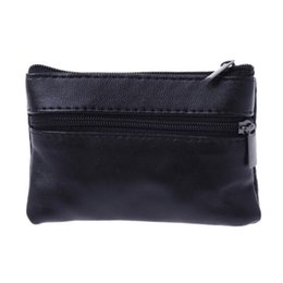 2019 оптовые наушники для детей Men Women Coin Key Soft Holder Zip Leather Wallet Pouch Bag Purse Gift New Fashion Black Mini Coin Holders
